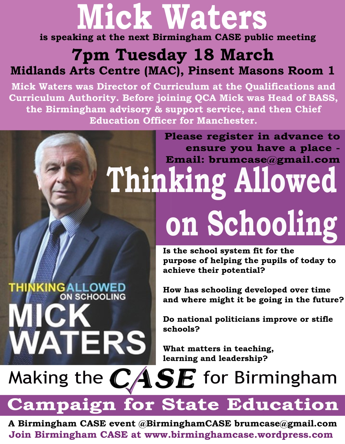 Event: Thinking Allowed on Schooling with Mick Waters